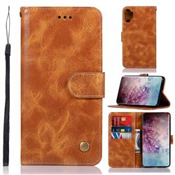 Luxury Retro Leather Wallet Case for Samsung Galaxy Note 10+ (6.75 inch) / Note10 Plus - Golden