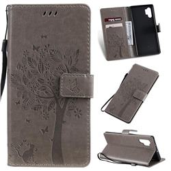 Embossing Butterfly Tree Leather Wallet Case for Samsung Galaxy Note 10+ (6.75 inch) / Note10 Plus - Grey