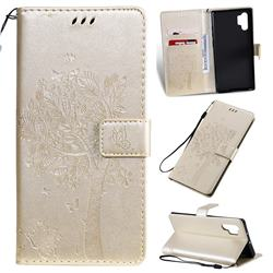 Embossing Butterfly Tree Leather Wallet Case for Samsung Galaxy Note 10+ (6.75 inch) / Note10 Plus - Champagne