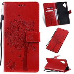 Embossing Butterfly Tree Leather Wallet Case for Samsung Galaxy Note 10+ (6.75 inch) / Note10 Plus - Red