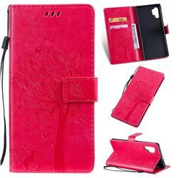 Embossing Butterfly Tree Leather Wallet Case for Samsung Galaxy Note 10+ (6.75 inch) / Note10 Plus - Rose