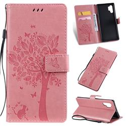 Embossing Butterfly Tree Leather Wallet Case for Samsung Galaxy Note 10+ (6.75 inch) / Note10 Plus - Pink