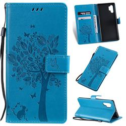 Embossing Butterfly Tree Leather Wallet Case for Samsung Galaxy Note 10+ (6.75 inch) / Note10 Plus - Blue