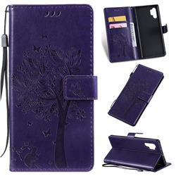 Embossing Butterfly Tree Leather Wallet Case for Samsung Galaxy Note 10+ (6.75 inch) / Note10 Plus - Purple