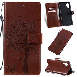 Embossing Butterfly Tree Leather Wallet Case for Samsung Galaxy Note 10+ (6.75 inch) / Note10 Plus - Coffee