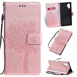 Embossing Butterfly Tree Leather Wallet Case for Samsung Galaxy Note 10+ (6.75 inch) / Note10 Plus - Rose Pink