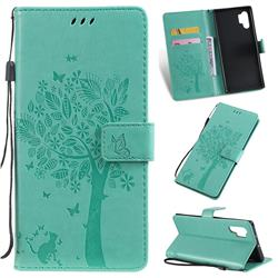 Embossing Butterfly Tree Leather Wallet Case for Samsung Galaxy Note 10+ (6.75 inch) / Note10 Plus - Cyan