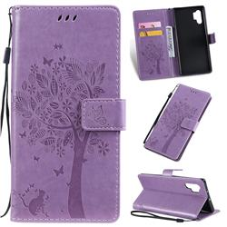 Embossing Butterfly Tree Leather Wallet Case for Samsung Galaxy Note 10+ (6.75 inch) / Note10 Plus - Violet