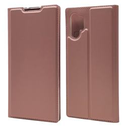Ultra Slim Card Magnetic Automatic Suction Leather Wallet Case for Samsung Galaxy Note 10+ (6.75 inch) / Note10 Plus - Rose Gold