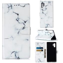 Soft White Marble PU Leather Wallet Case for Samsung Galaxy Note 10+ (6.75 inch) / Note10 Plus