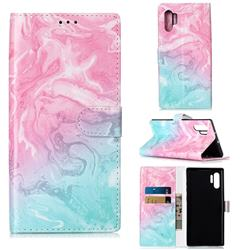 Pink Green Marble PU Leather Wallet Case for Samsung Galaxy Note 10+ (6.75 inch) / Note10 Plus
