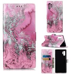 Pink Seawater PU Leather Wallet Case for Samsung Galaxy Note 10+ (6.75 inch) / Note10 Plus