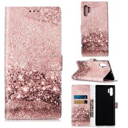 Glittering Rose Gold PU Leather Wallet Case for Samsung Galaxy Note 10+ (6.75 inch) / Note10 Plus