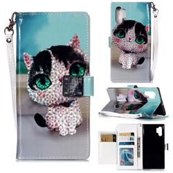 Cute Cat 3D Shiny Dazzle Smooth PU Leather Wallet Case for Samsung Galaxy Note 10+ (6.75 inch) / Note10 Plus