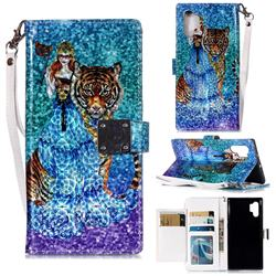 Beauty and Tiger 3D Shiny Dazzle Smooth PU Leather Wallet Case for Samsung Galaxy Note 10 Pro (6.75 inch) / Note 10+