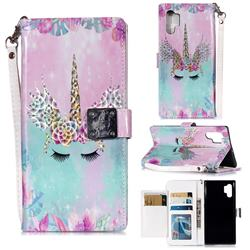 Unicorn Horn 3D Shiny Dazzle Smooth PU Leather Wallet Case for Samsung Galaxy Note 10+ (6.75 inch) / Note10 Plus