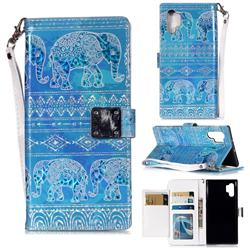 Tribal Elephant 3D Shiny Dazzle Smooth PU Leather Wallet Case for Samsung Galaxy Note 10 Pro (6.75 inch) / Note 10+