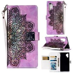 Mandala Flower 3D Shiny Dazzle Smooth PU Leather Wallet Case for Samsung Galaxy Note 10+ (6.75 inch) / Note10 Plus