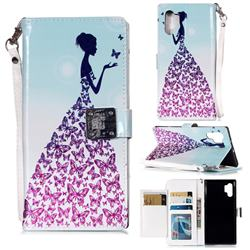 Butterfly Princess 3D Shiny Dazzle Smooth PU Leather Wallet Case for Samsung Galaxy Note 10 Pro (6.75 inch) / Note 10+