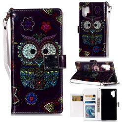 Tribal Owl 3D Shiny Dazzle Smooth PU Leather Wallet Case for Samsung Galaxy Note 10+ (6.75 inch) / Note10 Plus