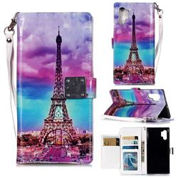 Rainbow Eiffel Tower 3D Shiny Dazzle Smooth PU Leather Wallet Case for Samsung Galaxy Note 10+ (6.75 inch) / Note10 Plus