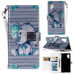 Big Ear Elephant 3D Shiny Dazzle Smooth PU Leather Wallet Case for Samsung Galaxy Note 10+ (6.75 inch) / Note10 Plus