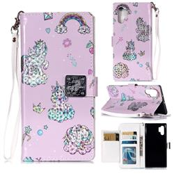 Rainbow Unicorn 3D Shiny Dazzle Smooth PU Leather Wallet Case for Samsung Galaxy Note 10+ (6.75 inch) / Note10 Plus