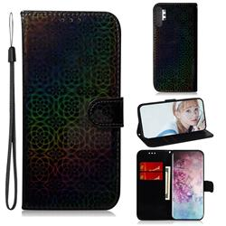 Laser Circle Shining Leather Wallet Phone Case for Samsung Galaxy Note 10+ (6.75 inch) / Note10 Plus - Black