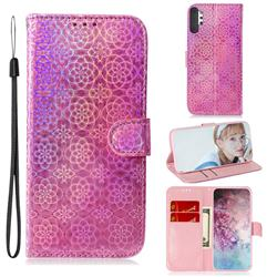 Laser Circle Shining Leather Wallet Phone Case for Samsung Galaxy Note 10+ (6.75 inch) / Note10 Plus - Pink