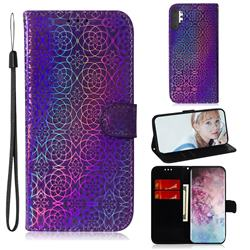 Laser Circle Shining Leather Wallet Phone Case for Samsung Galaxy Note 10+ (6.75 inch) / Note10 Plus - Purple