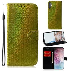 Laser Circle Shining Leather Wallet Phone Case for Samsung Galaxy Note 10+ (6.75 inch) / Note10 Plus - Golden