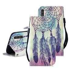 Feather Wind Chimes 3D Painted Leather Wallet Phone Case for Samsung Galaxy Note 10+ (6.75 inch) / Note10 Plus