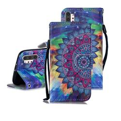 Oil Painting Mandala 3D Painted Leather Wallet Phone Case for Samsung Galaxy Note 10+ (6.75 inch) / Note10 Plus