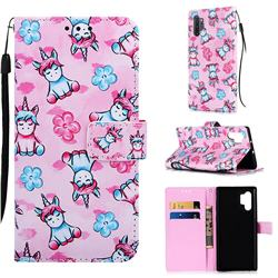Unicorn and Flowers Matte Leather Wallet Phone Case for Samsung Galaxy Note 10+ (6.75 inch) / Note10 Plus