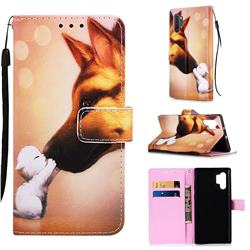 Hound Kiss Matte Leather Wallet Phone Case for Samsung Galaxy Note 10+ (6.75 inch) / Note10 Plus