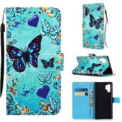 Love Butterfly Matte Leather Wallet Phone Case for Samsung Galaxy Note 10+ (6.75 inch) / Note10 Plus