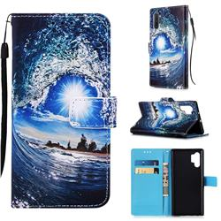 Waves and Sun Matte Leather Wallet Phone Case for Samsung Galaxy Note 10+ (6.75 inch) / Note10 Plus
