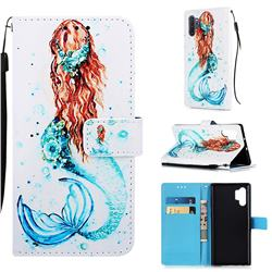 Mermaid Matte Leather Wallet Phone Case for Samsung Galaxy Note 10+ (6.75 inch) / Note10 Plus