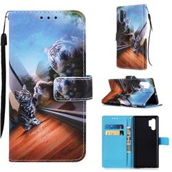 Mirror Cat Matte Leather Wallet Phone Case for Samsung Galaxy Note 10+ (6.75 inch) / Note10 Plus