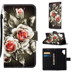 Black Rose Matte Leather Wallet Phone Case for Samsung Galaxy Note 10+ (6.75 inch) / Note10 Plus