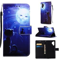 Cat and Moon Matte Leather Wallet Phone Case for Samsung Galaxy Note 10+ (6.75 inch) / Note10 Plus