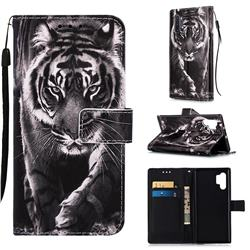 Black and White Tiger Matte Leather Wallet Phone Case for Samsung Galaxy Note 10+ (6.75 inch) / Note10 Plus
