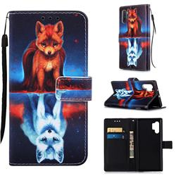Water Fox Matte Leather Wallet Phone Case for Samsung Galaxy Note 10+ (6.75 inch) / Note10 Plus