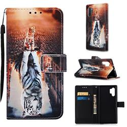 Cat and Tiger Matte Leather Wallet Phone Case for Samsung Galaxy Note 10+ (6.75 inch) / Note10 Plus