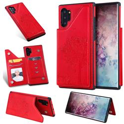Luxury Tree and Cat Multifunction Magnetic Card Slots Stand Leather Phone Back Cover for Samsung Galaxy Note 10+ (6.75 inch) / Note10 Plus - Red