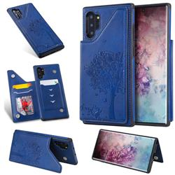Luxury Tree and Cat Multifunction Magnetic Card Slots Stand Leather Phone Back Cover for Samsung Galaxy Note 10+ (6.75 inch) / Note10 Plus - Blue