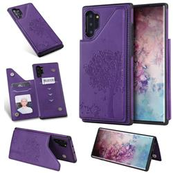 Luxury Tree and Cat Multifunction Magnetic Card Slots Stand Leather Phone Back Cover for Samsung Galaxy Note 10+ (6.75 inch) / Note10 Plus - Purple