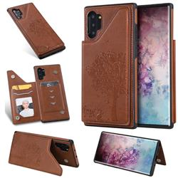 Luxury Tree and Cat Multifunction Magnetic Card Slots Stand Leather Phone Back Cover for Samsung Galaxy Note 10+ (6.75 inch) / Note10 Plus - Brown