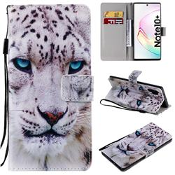 White Leopard PU Leather Wallet Case for Samsung Galaxy Note 10+ (6.75 inch) / Note10 Plus