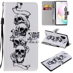 Skull Head PU Leather Wallet Case for Samsung Galaxy Note 10+ (6.75 inch) / Note10 Plus